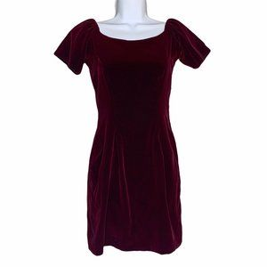 Reformation Red Crushed Velvet Cap Sleeve XS Small